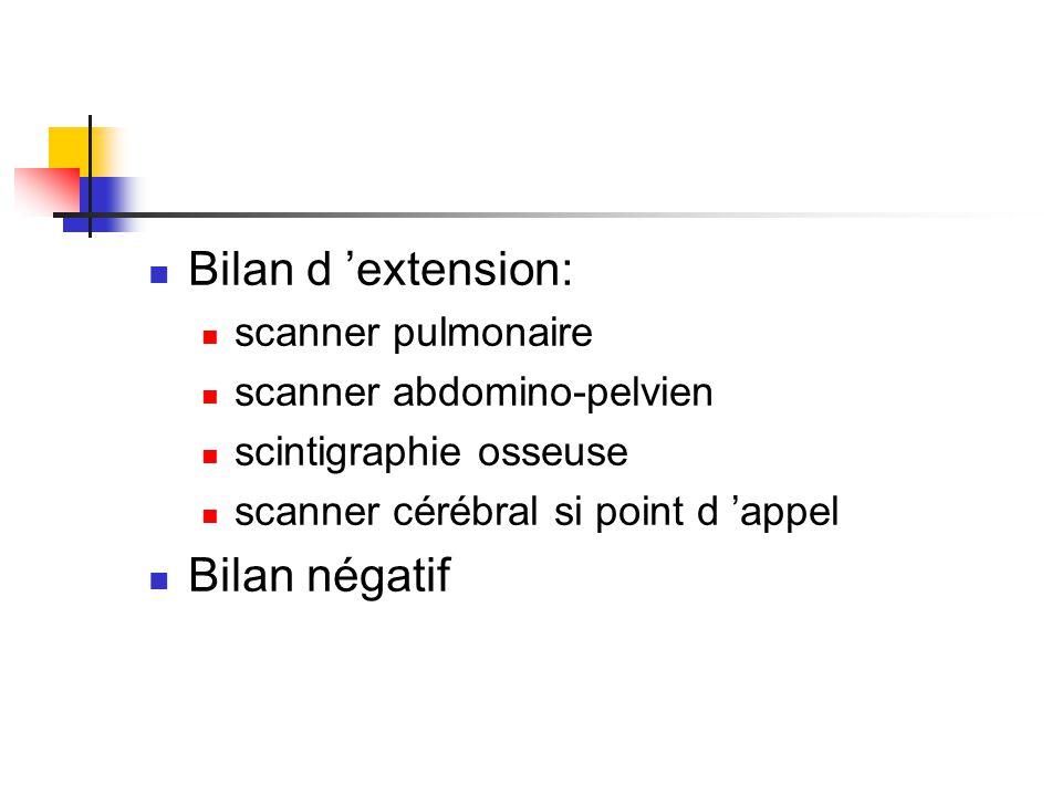 Bilan d 'extension: Bilan négatif scanner pulmonaire