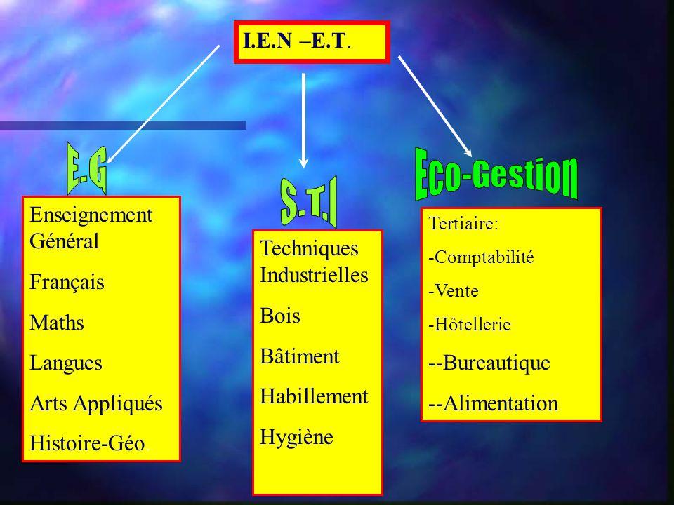 E.G Eco-Gestion S.T.I I.E.N –E.T. Enseignement Général Français