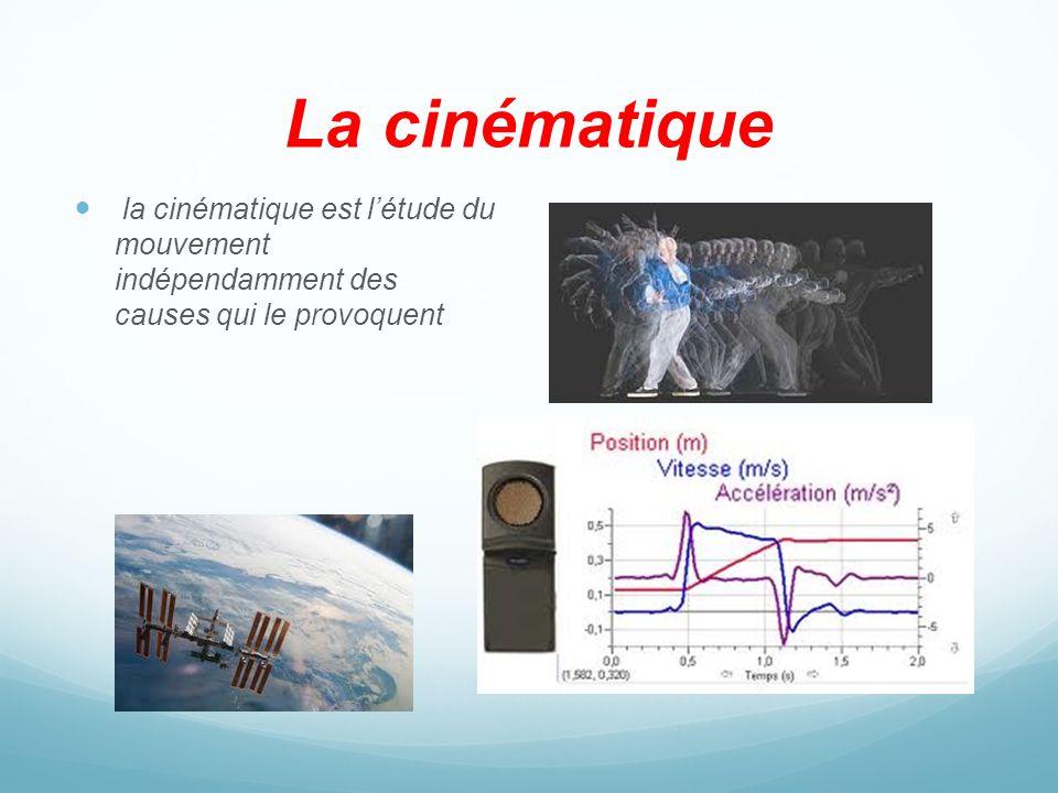 La cinématique la cinématique est l'étude du mouvement indépendamment des causes qui le provoquent.