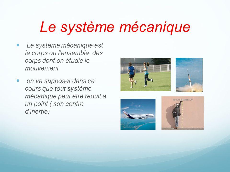 Le système mécanique Le système mécanique est le corps ou l'ensemble des corps dont on étudie le mouvement.