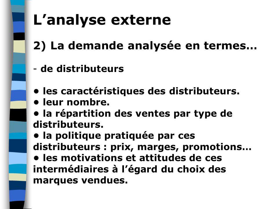 L'analyse externe 2) La demande analysée en termes… de distributeurs
