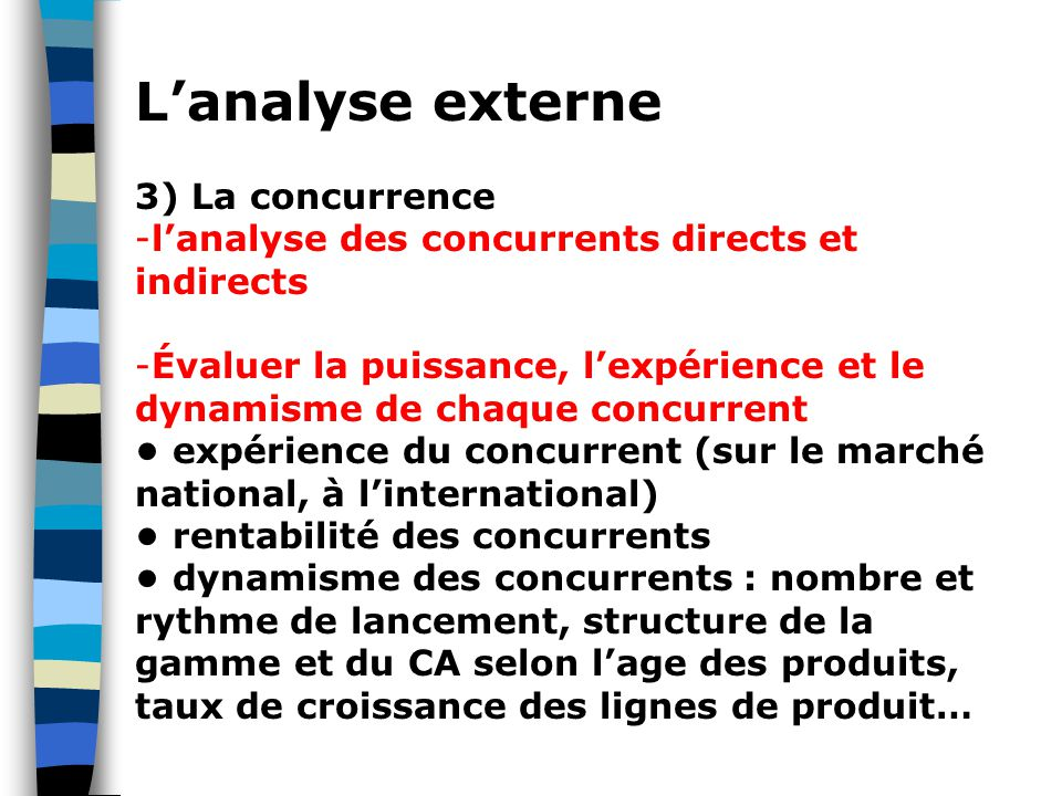 L'analyse externe 3) La concurrence