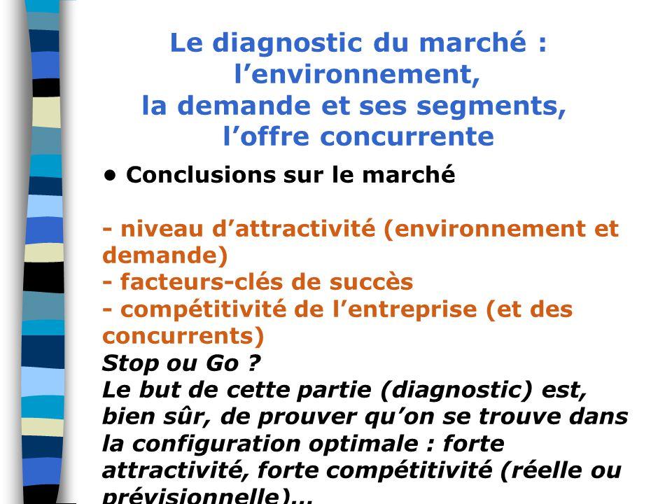 Le diagnostic du marché : la demande et ses segments,