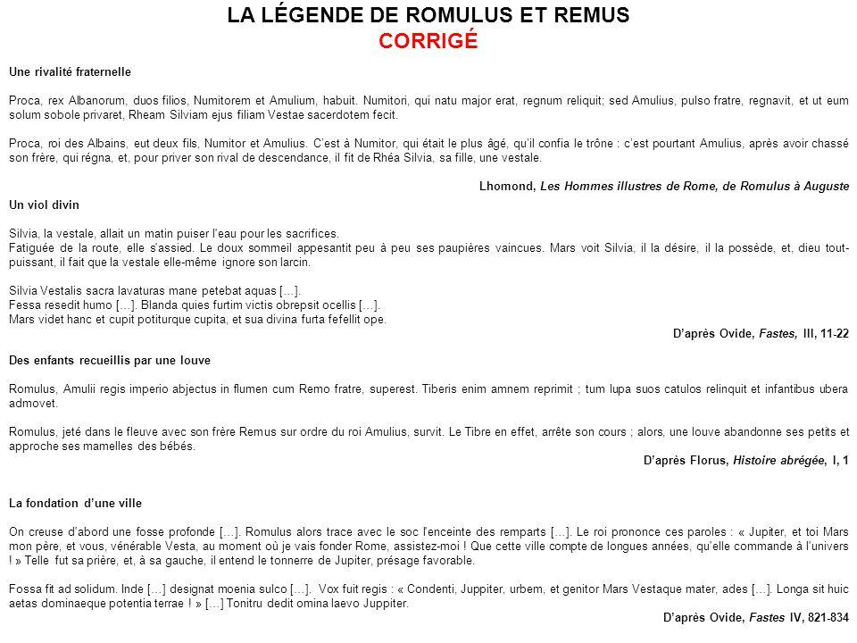 LA LÉGENDE DE ROMULUS ET REMUS