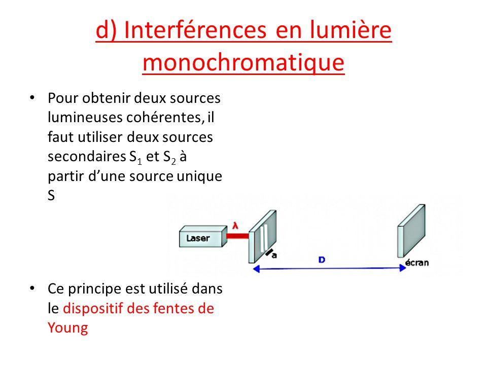 d) Interférences en lumière monochromatique