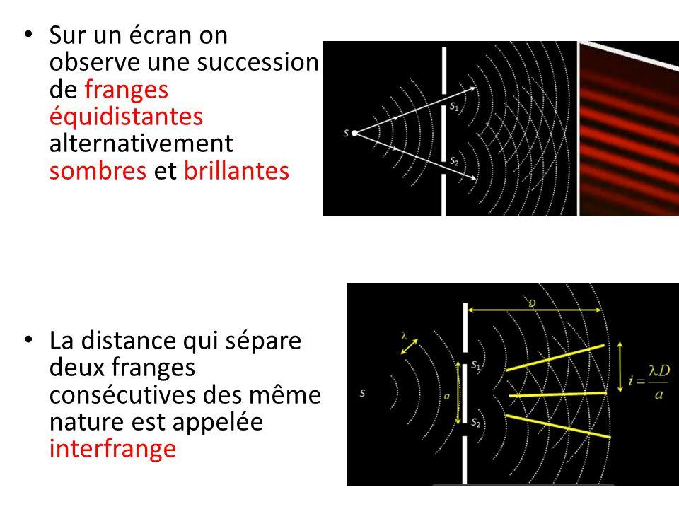 Sur un écran on observe une succession de franges équidistantes alternativement sombres et brillantes