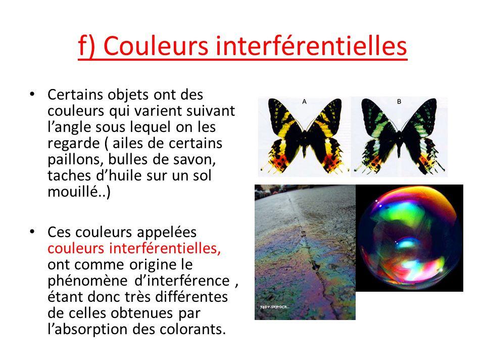 f) Couleurs interférentielles