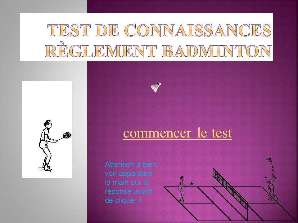 Test de connaissances Règlement Badminton