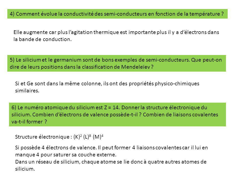 4) Comment évolue la conductivité des semi-conducteurs en fonction de la température