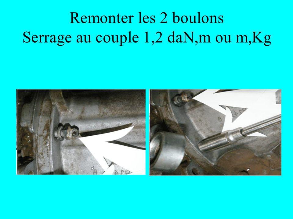 Remonter les 2 boulons Serrage au couple 1,2 daN,m ou m,Kg