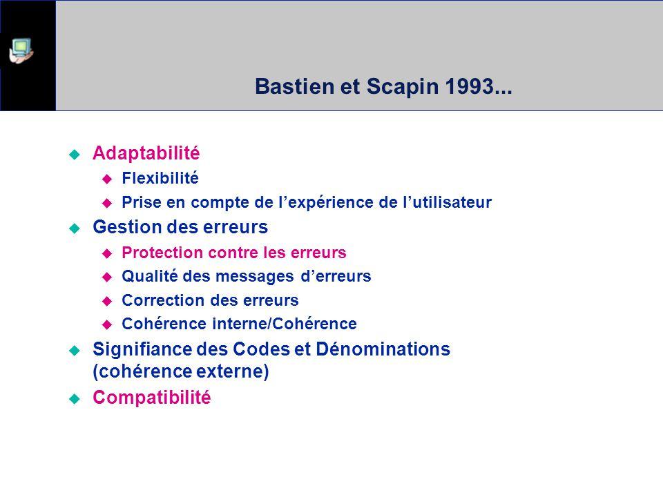 Bastien et Scapin 1993... Adaptabilité Gestion des erreurs