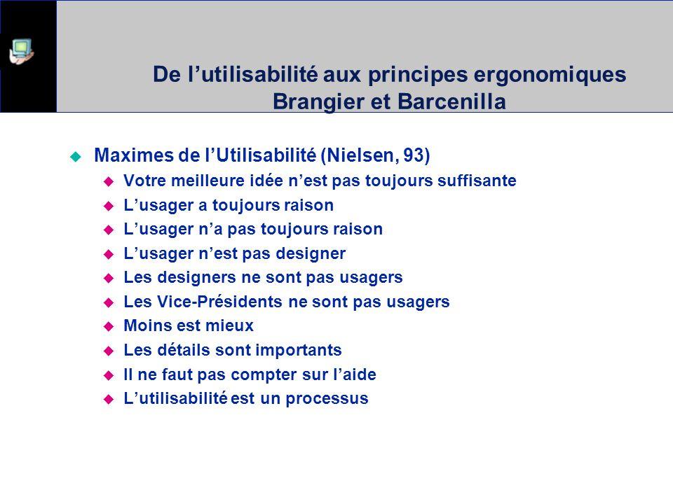 De l'utilisabilité aux principes ergonomiques Brangier et Barcenilla