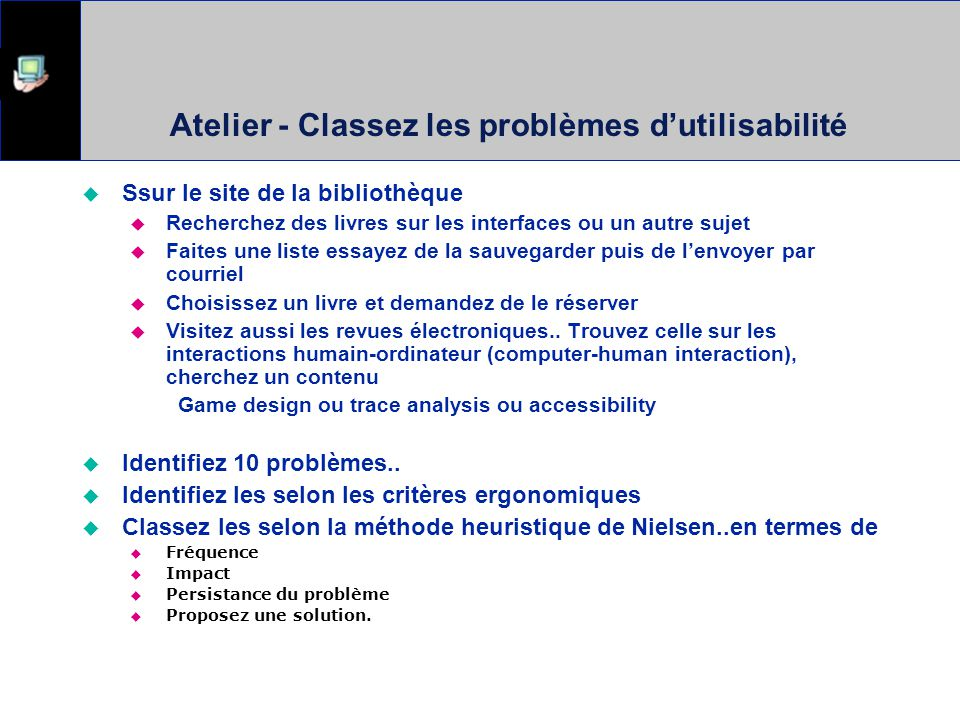 Atelier - Classez les problèmes d'utilisabilité