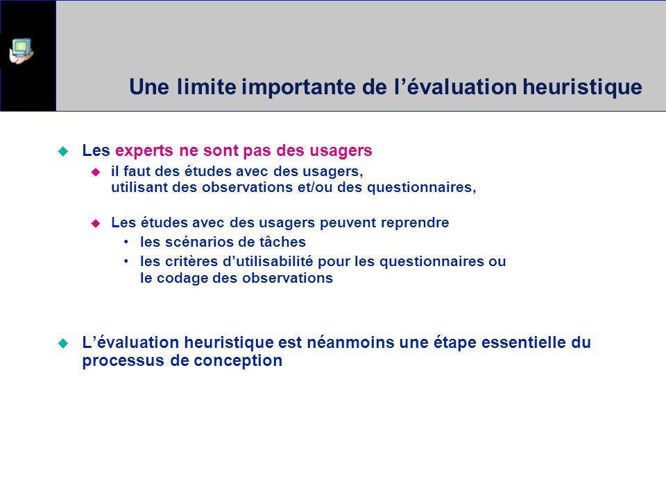 Une limite importante de l'évaluation heuristique
