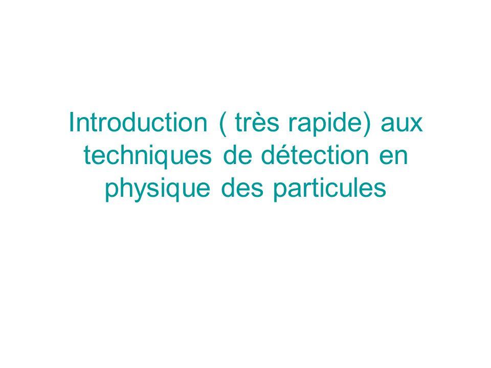 Introduction ( très rapide) aux techniques de détection en physique des particules