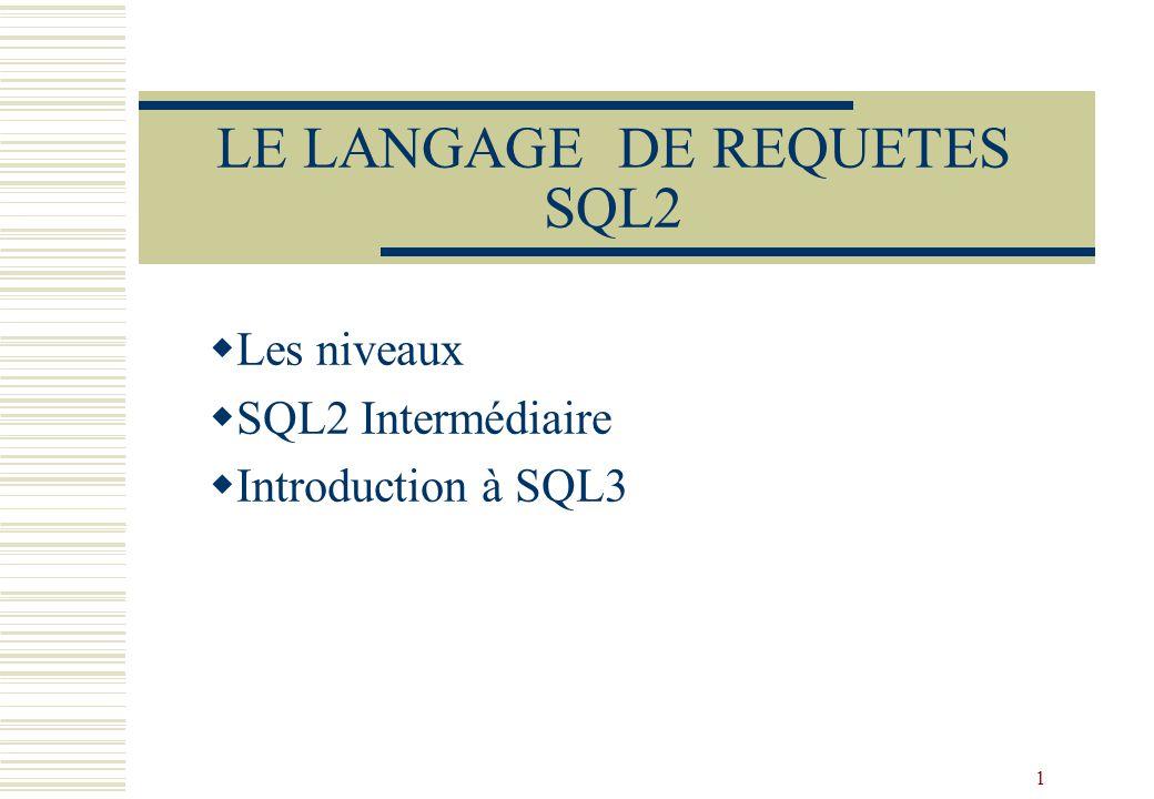LE LANGAGE DE REQUETES SQL2