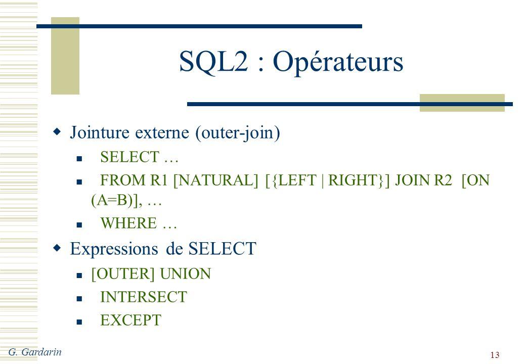 SQL2 : Opérateurs Jointure externe (outer-join) Expressions de SELECT