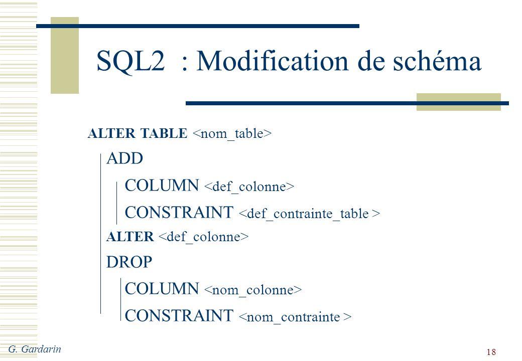 SQL2 : Modification de schéma