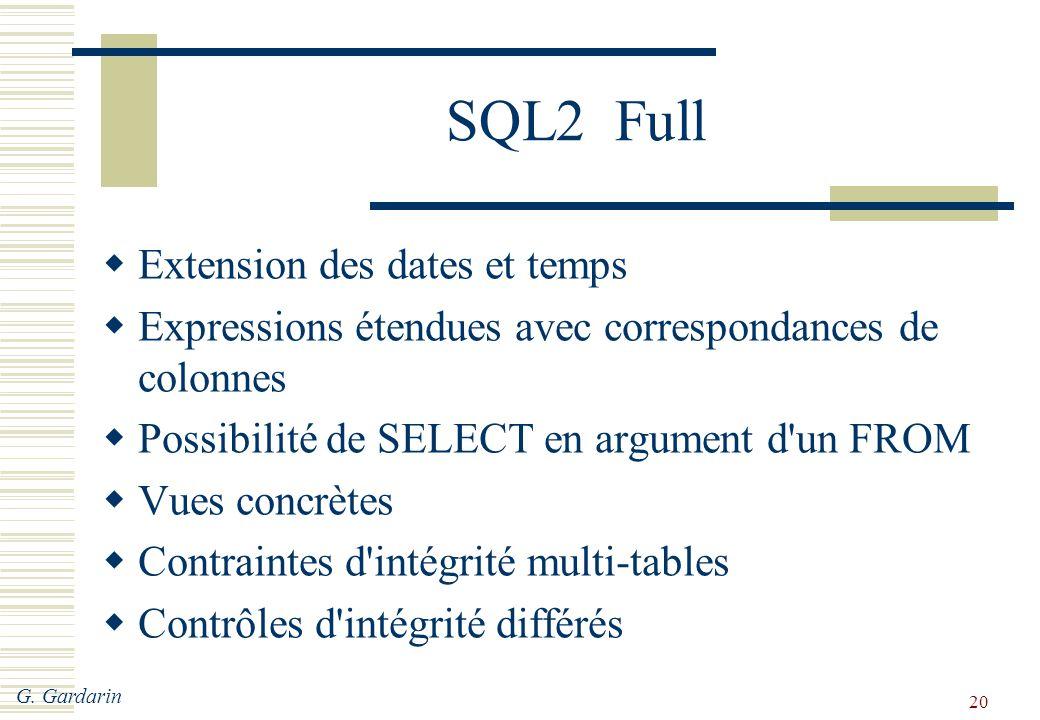 SQL2 Full Extension des dates et temps