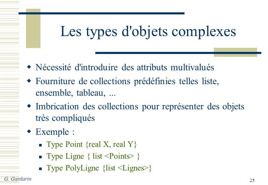 Les types d objets complexes
