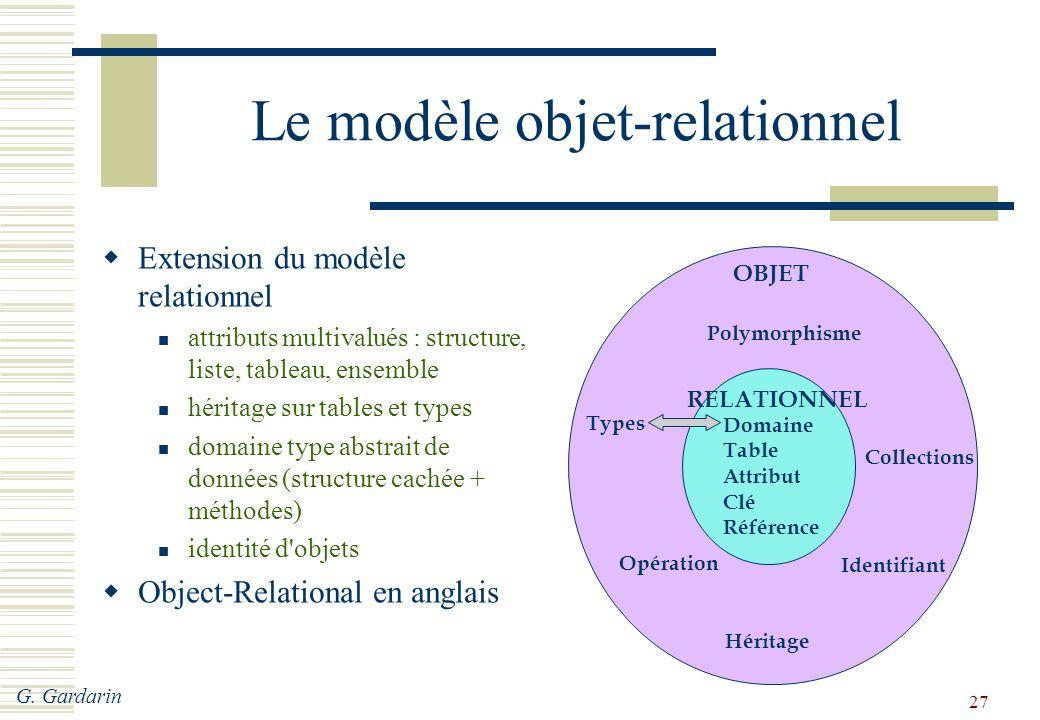 Le modèle objet-relationnel