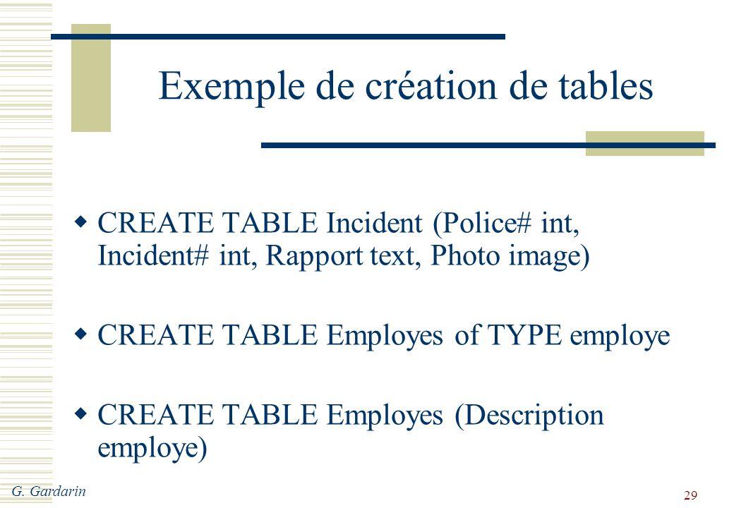 Exemple de création de tables