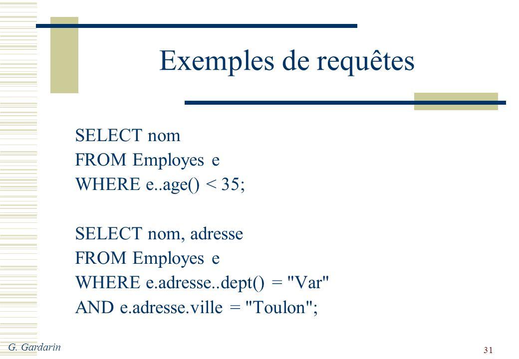 Exemples de requêtes SELECT nom FROM Employes e