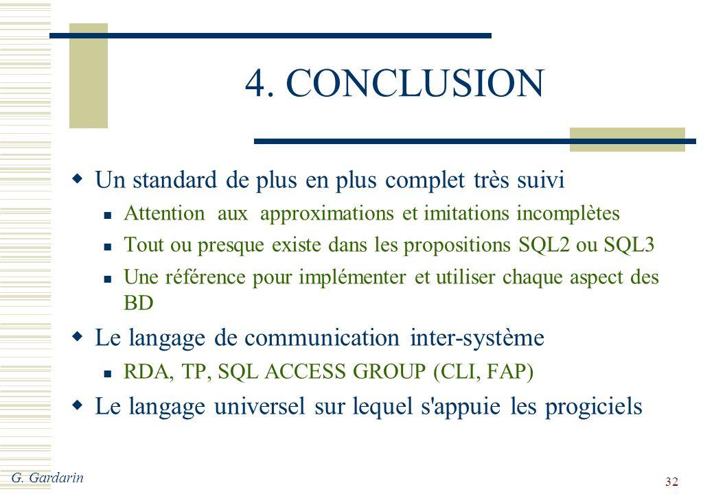 4. CONCLUSION Un standard de plus en plus complet très suivi
