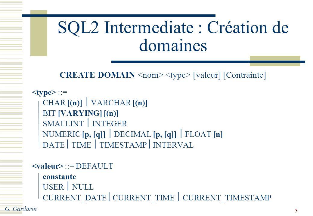 SQL2 Intermediate : Création de domaines