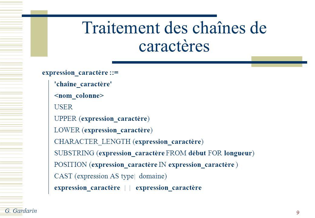 Traitement des chaînes de caractères