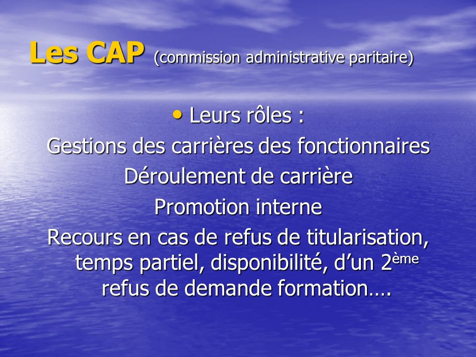 Les CAP (commission administrative paritaire)
