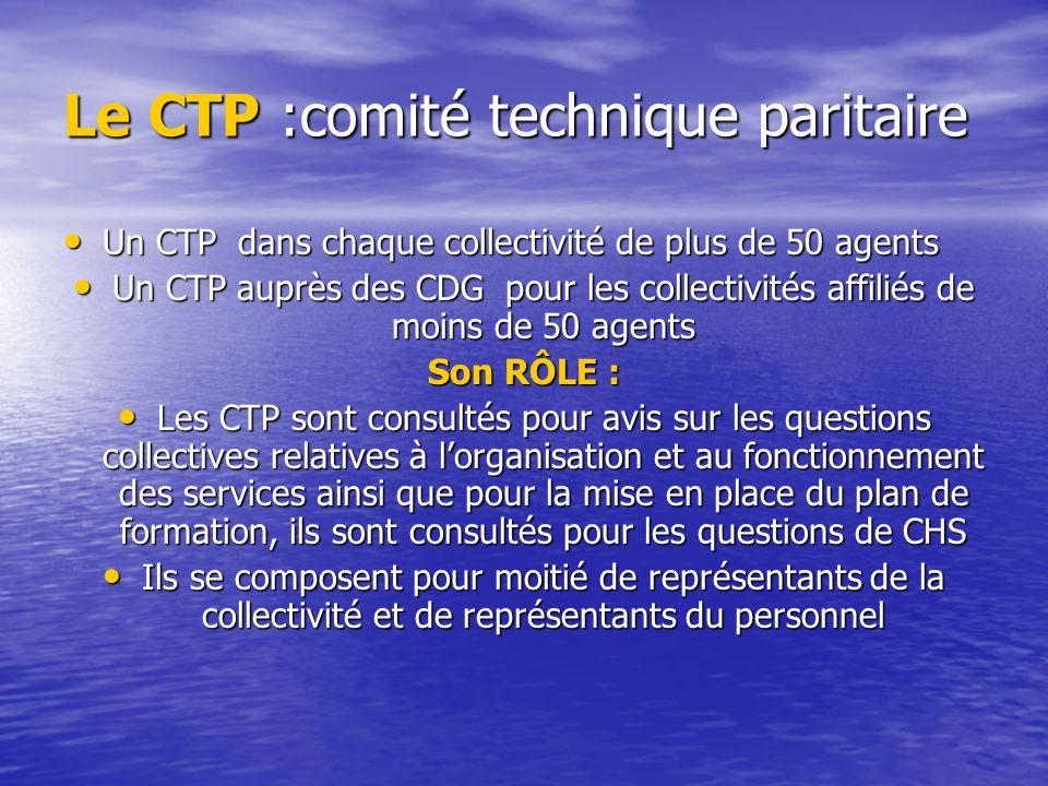 Le CTP :comité technique paritaire