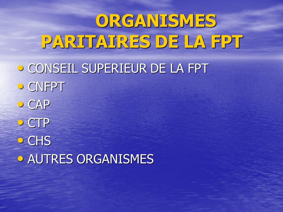 ORGANISMES PARITAIRES DE LA FPT