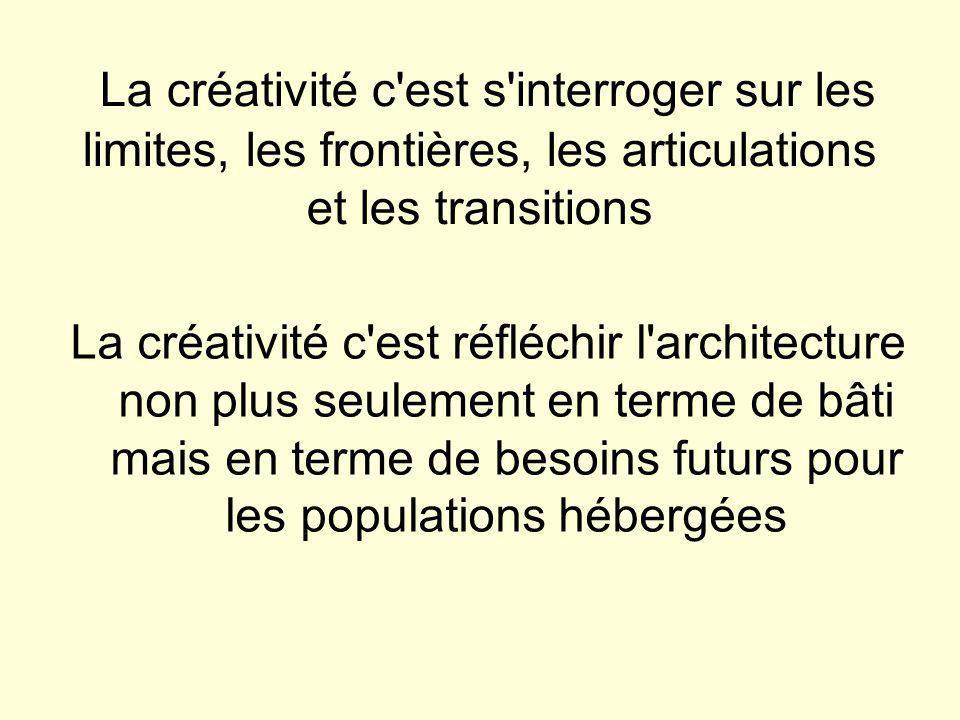 La créativité c est s interroger sur les limites, les frontières, les articulations et les transitions