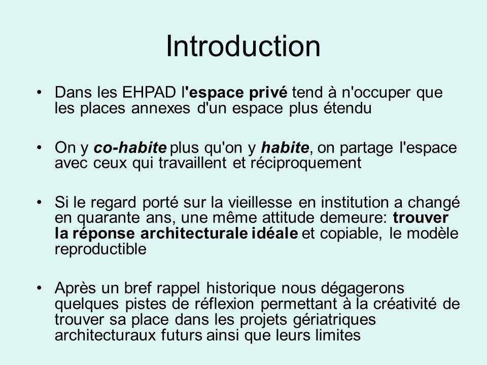 Introduction Dans les EHPAD l espace privé tend à n occuper que les places annexes d un espace plus étendu.