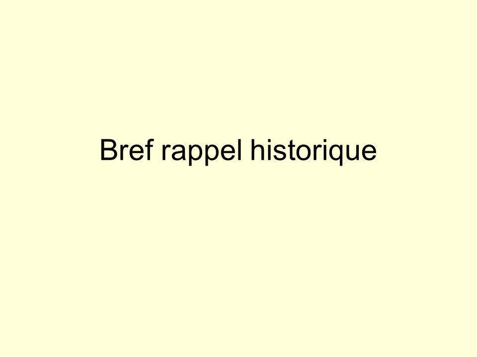 Bref rappel historique
