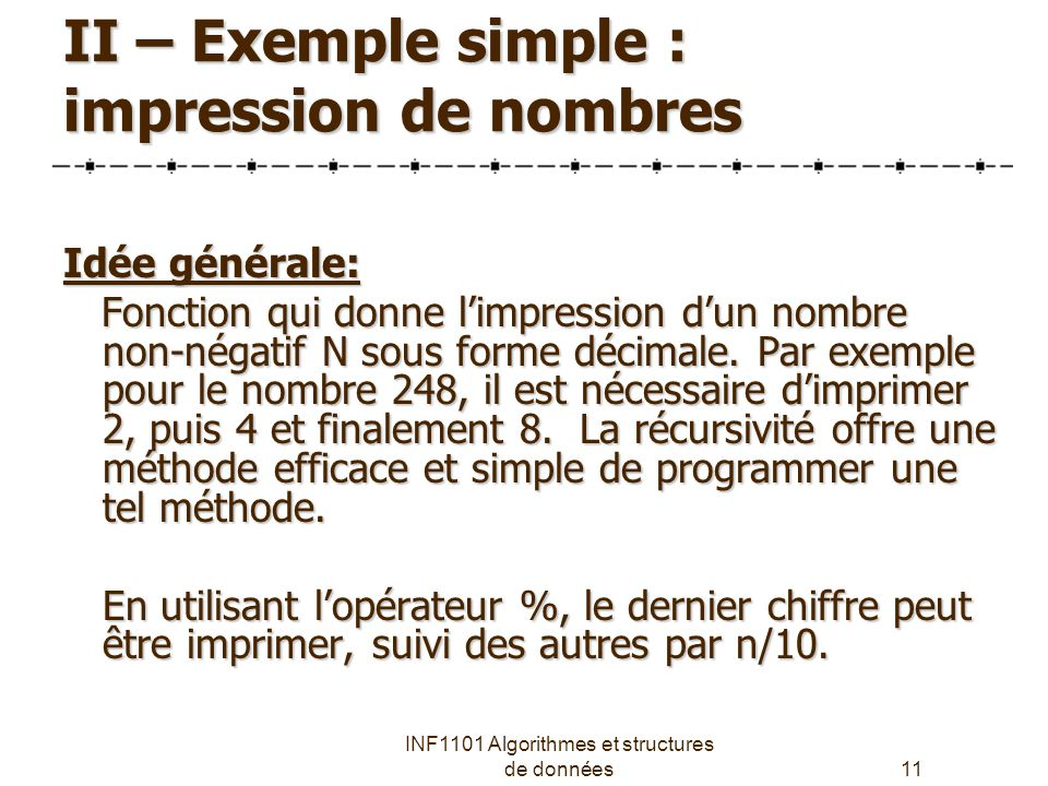 II – Exemple simple : impression de nombres