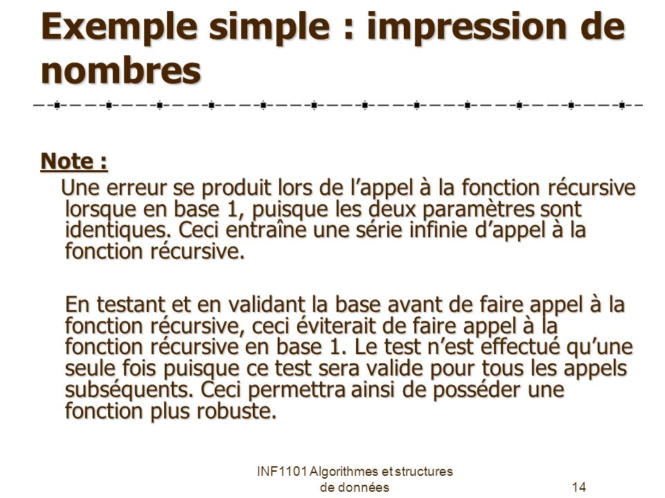 Exemple simple : impression de nombres