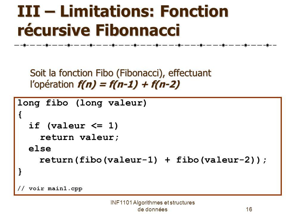 III – Limitations: Fonction récursive Fibonnacci
