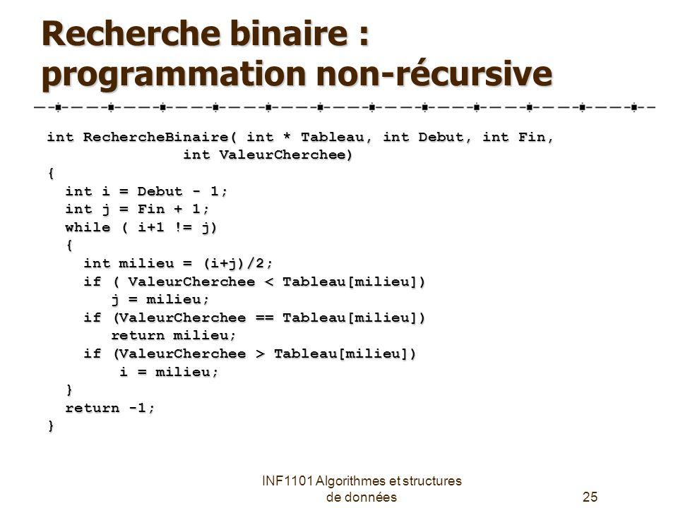 Recherche binaire : programmation non-récursive