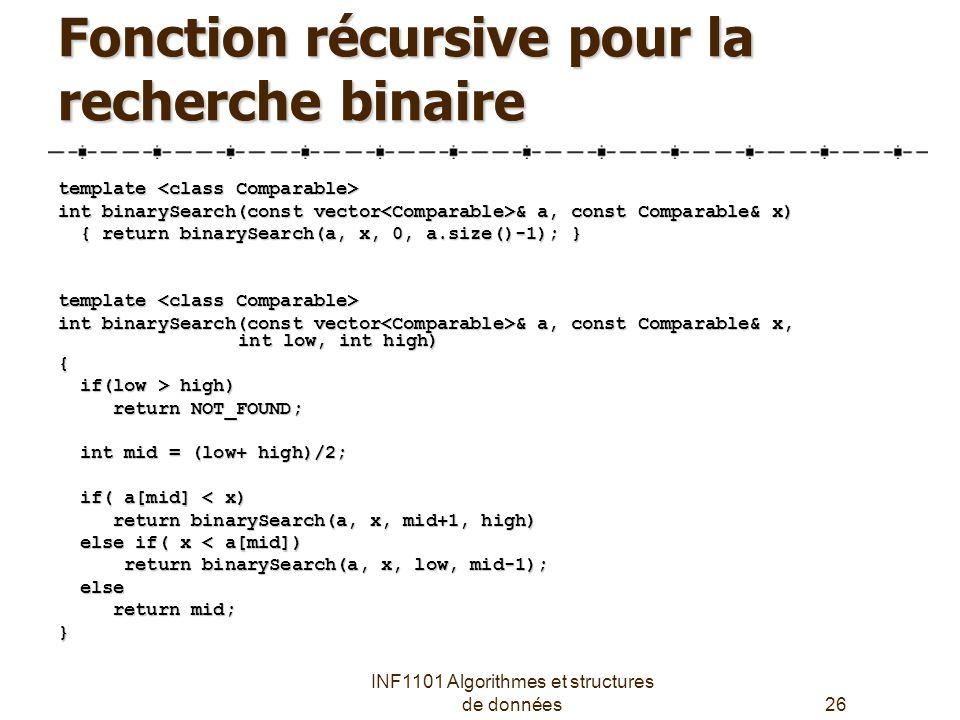 Fonction récursive pour la recherche binaire