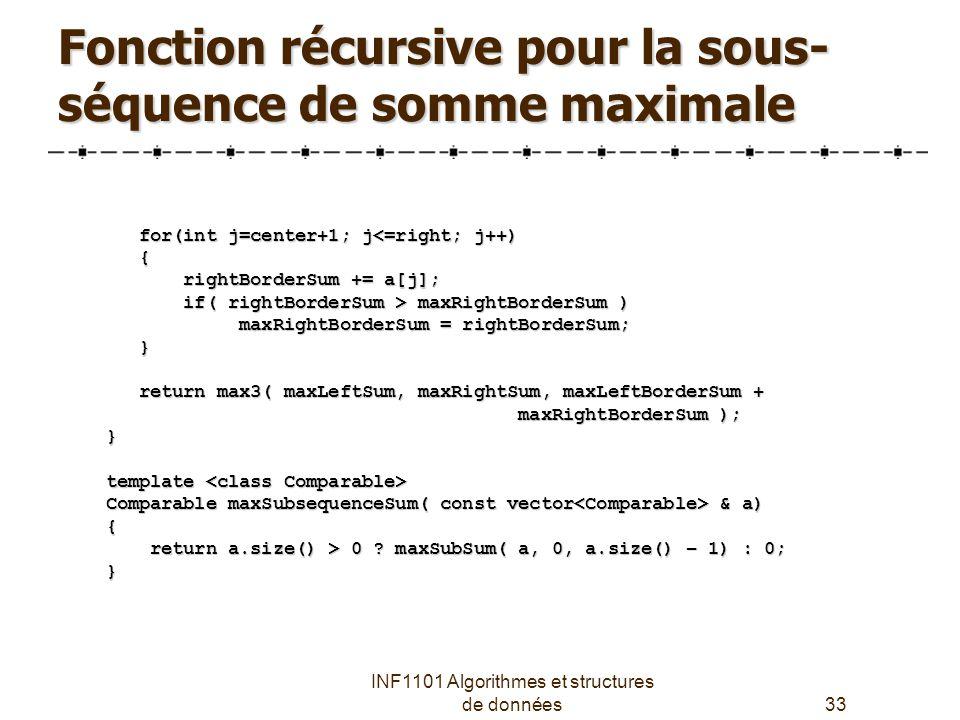 Fonction récursive pour la sous-séquence de somme maximale
