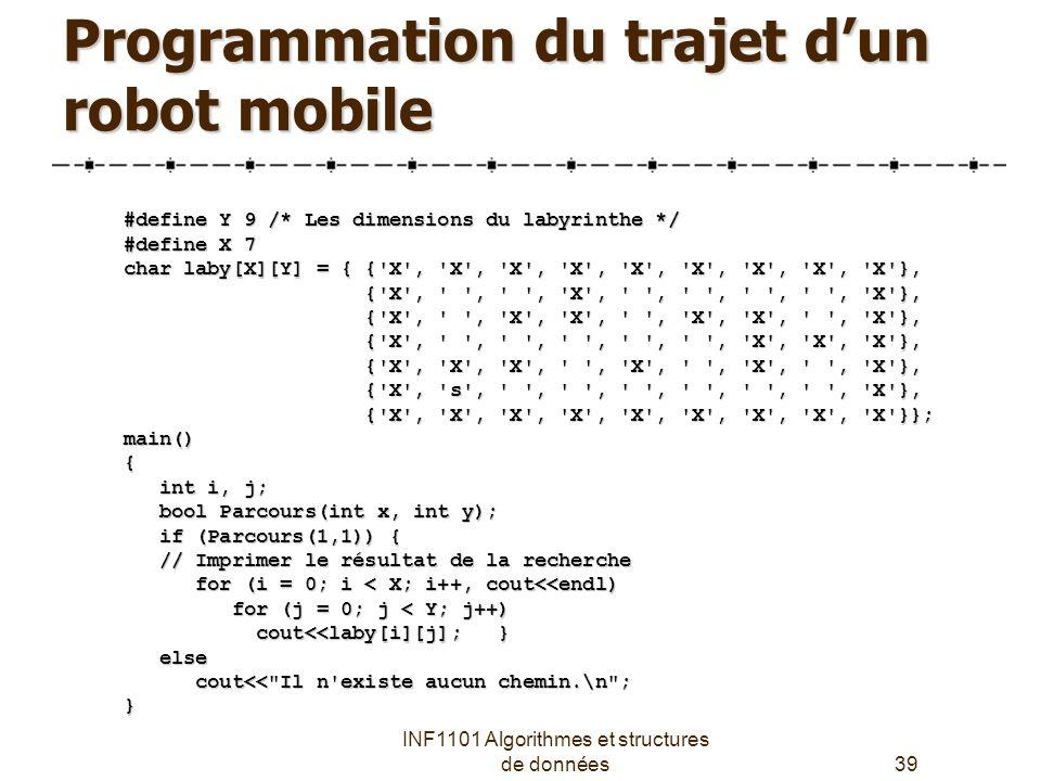 Programmation du trajet d'un robot mobile