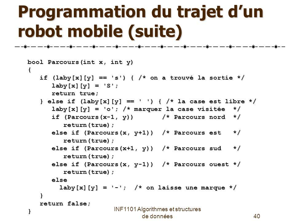 Programmation du trajet d'un robot mobile (suite)