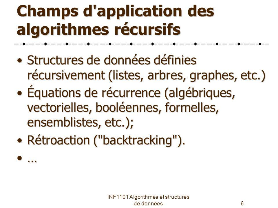 Champs d application des algorithmes récursifs