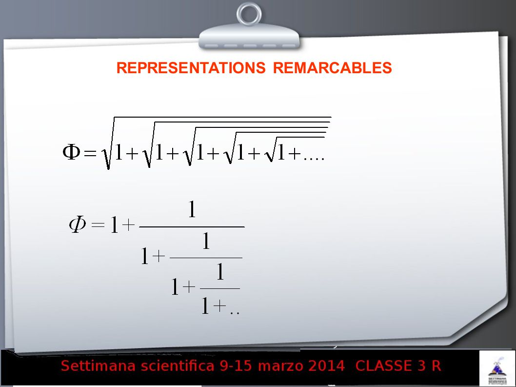 REPRESENTATIONS REMARCABLES