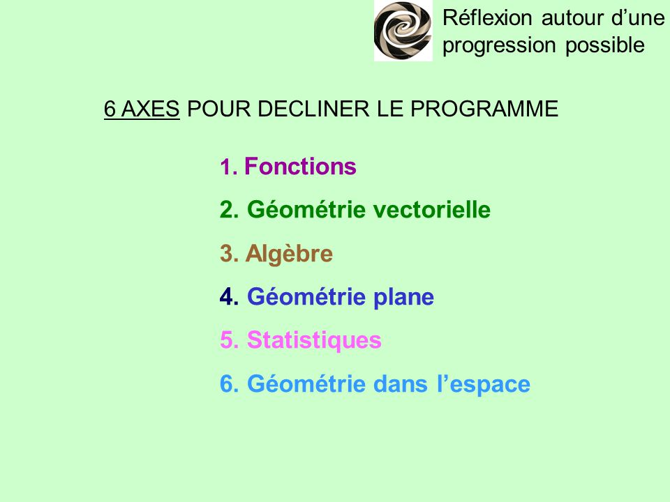 6 AXES POUR DECLINER LE PROGRAMME