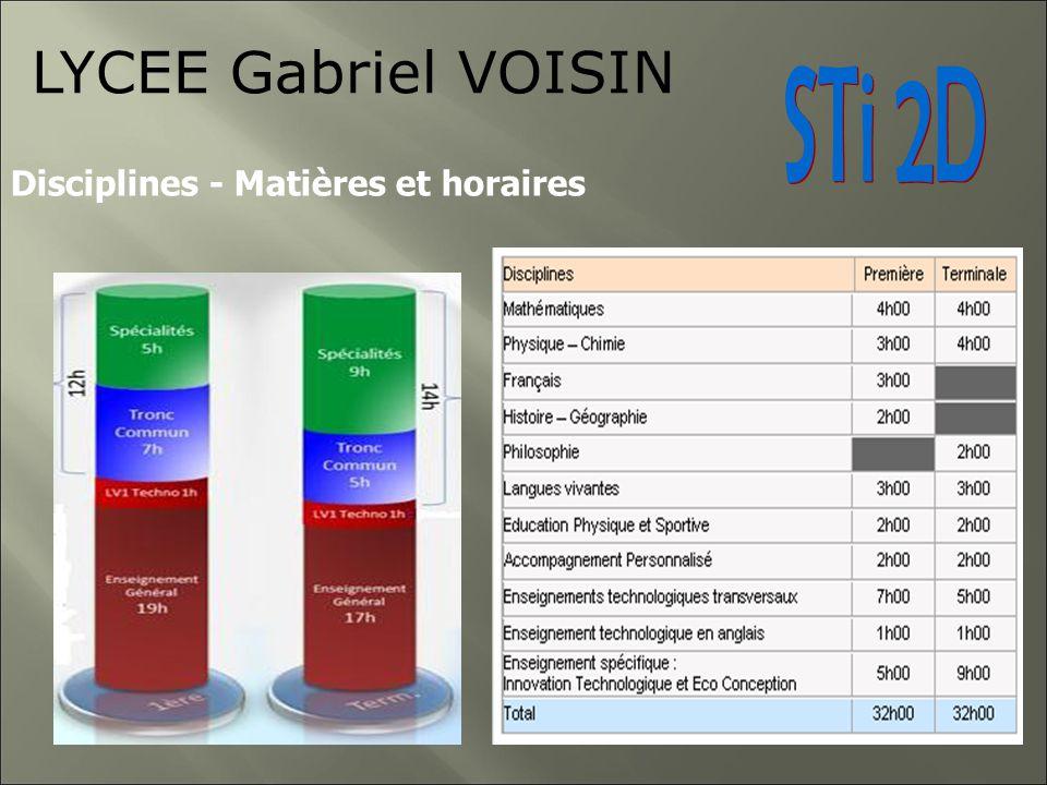 LYCEE Gabriel VOISIN STi 2D Disciplines - Matières et horaires 6
