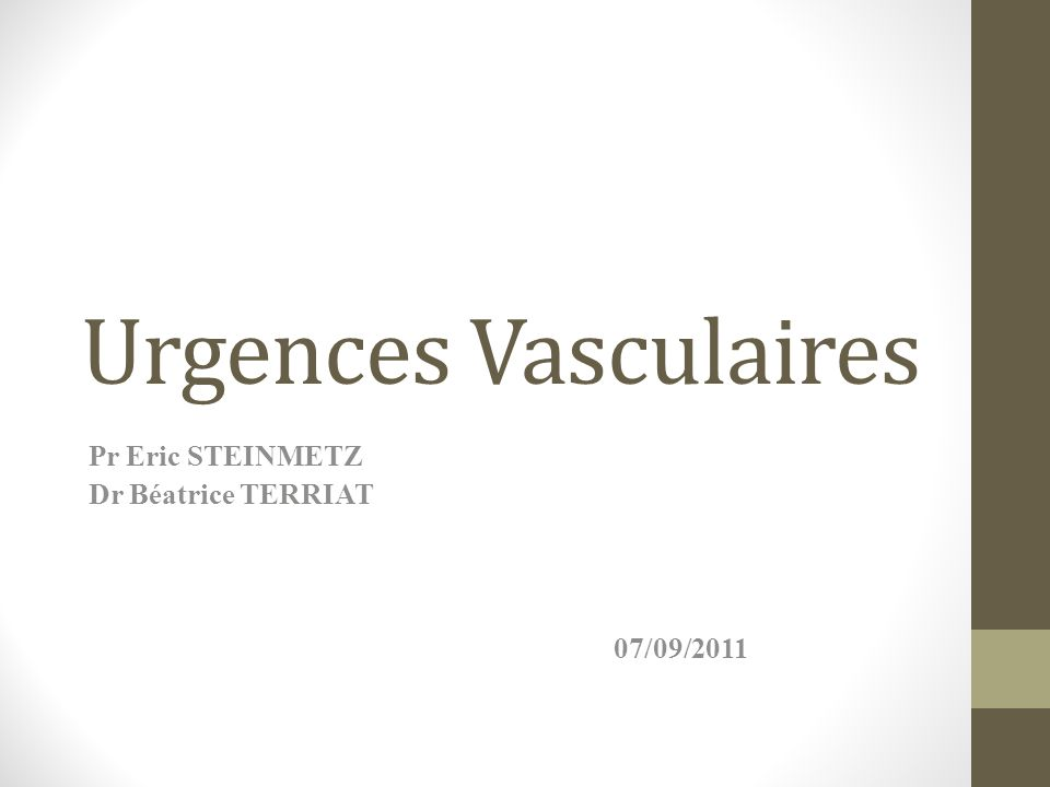 Pr Eric STEINMETZ Dr Béatrice TERRIAT 07/09/2011