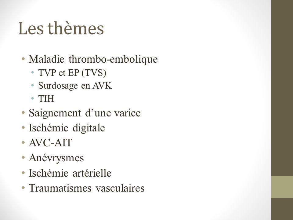 Les thèmes Maladie thrombo-embolique Saignement d'une varice
